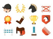 Equestrian sport icon set isolate on white background. Vector horse and jockeyr, competition symbol collection illustration Stock Photos