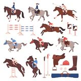 Equestrian Sport Icons Set. Equestrian sport set of flat icons with riders and polo players, horses, gear, hurdles isolated vector illustration Royalty Free Stock Photography