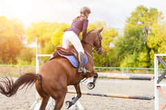 Equestrian sport image. Show jumping competition. Equestrian sport background. Young sportswoman jumping over a hurdle on Show jumping competition Royalty Free Stock Images