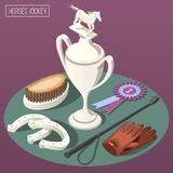 Equestrian Sport Isometric Composition. With winner cup horseshoe comb and jockey  accessories vector illustration Royalty Free Stock Photography