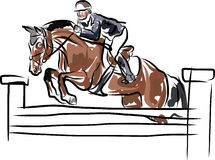 Equestrian sport - Rider on horse in jumping show Stock Image