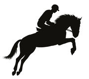 Equestrian sport silhouettes Royalty Free Stock Photo