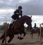 Equestrian sport. Tournament on jumping (конный спорт), children's schools Stock Photos