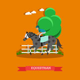 Equestrian sport vector illustration in flat style Stock Images