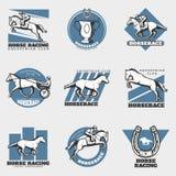 Equestrian Sport Vintage Logos Set Royalty Free Stock Photography