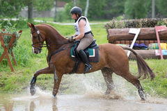 Equestrian sport. Woman eventer on horse is overcomes Water jump Stock Photo