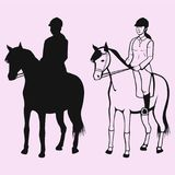 Equestrian sport silhouette. Equestrian sport woman in gear sitting on a horse silhouette vector Stock Images