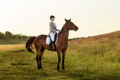Equestrian sport. Young woman riding horse on dressage advanced test Royalty Free Stock Image