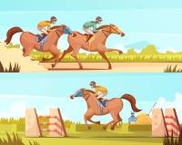 Equestrian sporta Horyzontalny sztandar ilustracja wektor