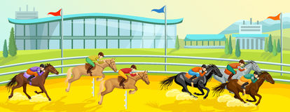 Equestrian sporta kreskówki szablon ilustracja wektor