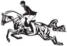Equestrian sporta przedstawienia koński skakać plemienny royalty ilustracja