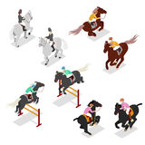 Equestrian Sports - Polo, Dressage, Contest. Man on Horse. Isometric illustration Royalty Free Stock Photos