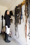 Equestrian in a stable Stock Photos