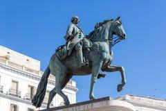 Equestrian statua Carlos III obraz royalty free