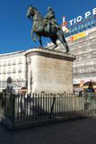 Equestrian statua Carlos III przy Puerta Del Zol w Madryt, Hiszpania obraz stock