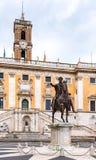 Equestrian statua cesarz Marcus Aurelius na piazza Del Campidoglio, Kapitoli?ski wzg?rze, Rzym, W?ochy obraz royalty free