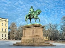 Equestrian statua Karl XIV Johan w Oslo w zimie, Norwegia Fotografia Stock