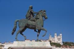 Equestrian statua ludwik xiv przy miejsca bellecour Zdjęcia Royalty Free