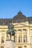 Equestrian statua reprezentuje królewiątko Carol w Bucharest Obraz Royalty Free