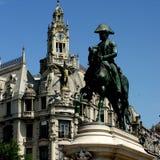 Equestrian statua w Porto Obraz Stock