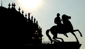 Equestrian statue. In Castello square, Turin - Italy royalty free stock photography