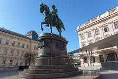 Equestrian statue of Archduke Albrecht, Duke of Teschen.Vienna, Austria. Royalty Free Stock Photo