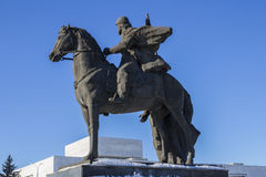 Equestrian statue. On blue sky background Stock Photos
