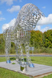 Equestrian statue. BROMONT QUEBEC CANADA 09 28 2016: By Mathieu Isabelle new statue in Bromont. The home of the Parc equestre Olympique de Bromont, equestrian Stock Image