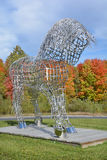 Equestrian statue. BROMONT QUEBEC CANADA 10 12 2016: By Mathieu Isabelle new statue in Bromont. The home of the Parc equestre Olympique de Bromont, equestrian Stock Images