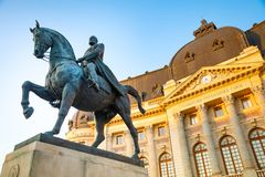 Equestrian statue of Carol I in front of the Royal Palace in Bucharest stock images
