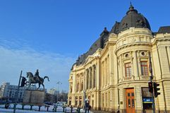 Equestrian statue of carol I and university library bucharest romania Stock Image