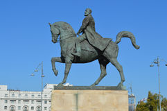 Equestrian statue of Charles I in bucharest side view Royalty Free Stock Photography