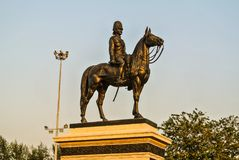 Equestrian statue of Chulalongkorn the Great in Bangkok, T. Equestrian statue of Chulalongkorn the Great is an outdoor sculpture in cast bronze at the center of royalty free stock photography