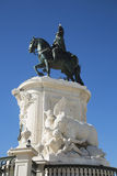 Equestrian statue at commerce square in Lisbon, Portugal Royalty Free Stock Photo