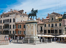 The equestrian statue of condottiere Bartolomeo Colleoni (1479) Royalty Free Stock Photography
