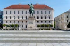 Equestrian statue of Elector Maximilian Churfuerst Von Bayern. Munich, Bavaria, Germany - May 18, 2019.  Equestrian statue of Elector Maximilian Churfuerst Von royalty free stock image