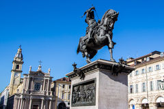 Equestrian statue of Emanuele Filiberto in Turin, Italy Royalty Free Stock Photo