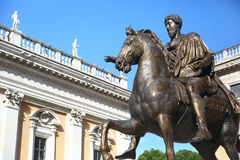 Equestrian statue of emperor Marcus Aurelius in Rome Royalty Free Stock Photos