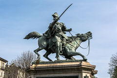 The equestrian statue of Ferdinando di Savoia in Turin, Italy Royalty Free Stock Images