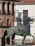 Equestrian statue of Francisco Pizarro in Trujillo Stock Image