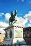 King Frederik V at Amalienborg, Copenhagen. Equestrian Statue of Frederik V on Amalienborg Palace Square Royalty Free Stock Photos