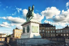 King Frederik V at Amalienborg, Copenhagen. Equestrian Statue of Frederik V on Amalienborg Palace Square Stock Photography