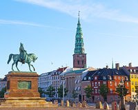 Equestrian statue of Frederik VII, Copenhagen, Denmark. The statue shows Frederik VII of Denmark on horseback, wearing a long coat Royalty Free Stock Photography