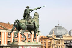 Equestrian statue at Piazza del Plebiscito, Naples, Italy. Equestrian statue, in front of the church San Francesco di Paola, of Ferdinand I of Bourbon at Naples Stock Photo