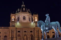 Museum of Natural History and Equestrian statue, at night - landmark attraction in Vienna, Austria. Royalty Free Stock Photography