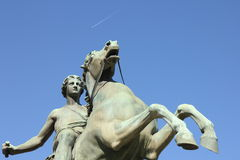 Equestrian statue in front of the Royal Palace, Turin, Italy Stock Images