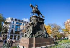 Equestrian Statue of General Louis Faidherbe on square Richebe i Stock Photo