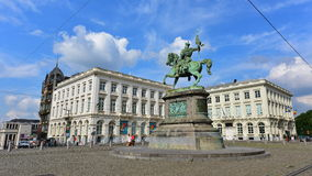 Equestrian statue of Godfrey of Bouillon standing in the center of Royal Square Stock Photos