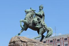 Equestrian statue of Hetman Bogdan Khmelnytsky in Kiev, Ukraine Stock Photos