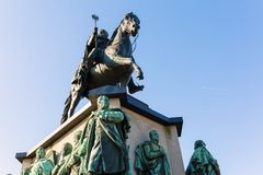Equestrian statue on the Heumarkt in Cologne, Germany. Cologne, Germany - February 24, 2018: equestrian statue on the Heumarkt in Cologne. Heumarkt is the second Royalty Free Stock Photo